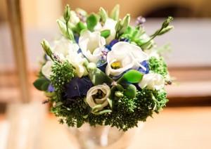 свадебный букет синий зелёный